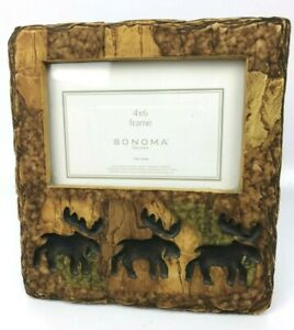 Rustic Elk Picture Frame Wood Look Lodge Nature Carved Chiseled 4 x 6 Photo