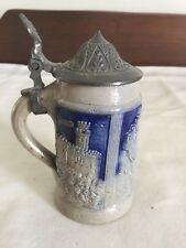 Antique Miniature German Salt Glazed Beer Stein w/ Lid, Unknown Age, Good Cond.