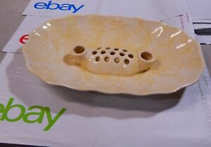 RARE Vintage Yellow Drip Oval Brush McCoy Pottery Candle Holder Flower Frog Bowl