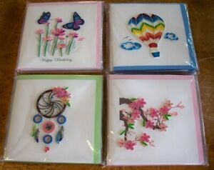 NEW Lot of 6 Quilled Cards Balloon Butterfly Dream Catcher Cherry Blossom