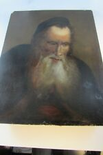 RARE Judaica Jewish Antique Original oil on wood painting Rabbi early 19th