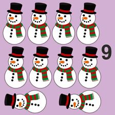 Colour snowman christmas stickers presents gifts decoration set of 9  138mm
