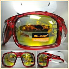 WRAP AROUND SPORT CYCLING FISHING GOLFING DRIVING CASUAL SUN GLASSES Red Frame