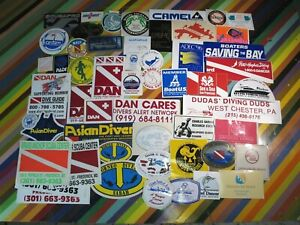 vtg 1980s 1990s Scuba Diving surf sticker - Galapagos Egypt Honduras DAN NAUI+