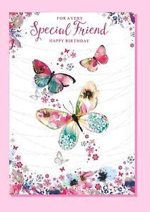 Friend Birthday Card - Butterfly Flowers Ladies Female - SIMON ELVIN 27601-1