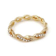 Twisted Ring Women Fashion Wedding Party Women Jewelry 14K Solid Rose Gold Stack