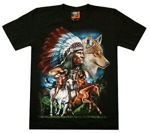 Indianer T-Shirt Gr. S M L XL Wolf Häuptling Krieger Reiter Pferde Western Biker