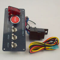 Switch Panel Engine Start Button LED Toggle Carbon Racing Car 12V Lgnition Red