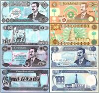 HISTORIC IRAQ WAR CURRENCY COLLECTION w SADDAM HUSSEIN! 10 to 250 DINARS! CV $40