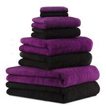 8-tlg. Badetuch Saunatuch-Set DELUXE Farbe: pflaume & schwarz, 2 Badetücher, 2 D