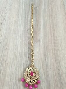 Pink and Gold Floral Tikkli Headpiece Brand New with Tags