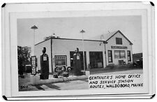 B&W POSTCARD GENTHER'S HOME OFFICE &SERVICE,GAS STATION ROUTE 1-WALDOBORO,ME