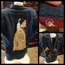 Vtg Rocky Mountain Clothing Hand Painted Native American Women Denim Jacket Sz?