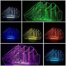 Ship LED Desk 3D Light USB Touch Illusion 7 Color Change Night Lamps
