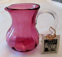 Nantucket Glassworks Cranberry Glass Pitcher Clear Decorative Ribbed Handle New