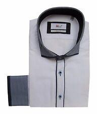 Slim-fit Herrenhemd 37/38 Gr.S weiß dunkelblau
