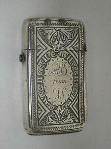 ANTIQUE STERLING SILVER VESTA CASE BIRMINGHAM 1869 REPOUSSE MONOGRAMMED