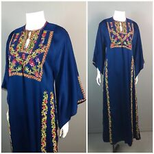 RARE Vintage 1950s Blue Middle Eastern Caftan Dress Bright Floral Embroidery XS