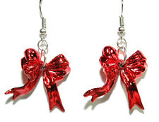 BRIGHT RED BOW CHRISTMAS DANGLE EARRINGS (H045)