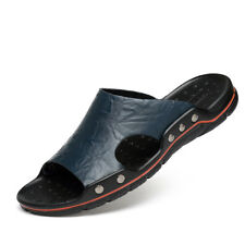Mens Leather Slipper Sandal Shoes Beach Summer  Open Toe Leather Slides Mules