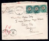 South Africa 1939 Censored Postage Due cover to California WS16460