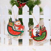 PT_ Cn _ Babbo Natale Slitta in Legno Ornamento da Appendere Albero Finestra