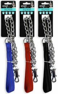 Short Metal Dog Chain Lead with Padded Handle Strong Control Leash Anti-Chew