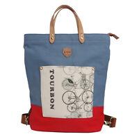 Tourbon Bike Pannier Saddle Pack Backpack Messenger Case Canvas Commute Bag Blue
