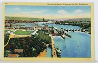 Seattle Washington Canal Locks Second to Panama Postcard J11