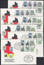 Berlin FDC alle 16 Zusammendrucke aus MH 14 + 15 auf 6 Ersttagsbriefen SWK 1989