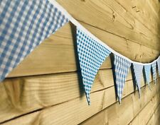 Bunting💙Mixed Blue Gingham Shabby Chic Traditional Room Decor Fabric 9ft💙
