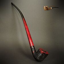 "TOBACCO SMOKING PIPE Lotr Gandalf Hobbit 81 CHURCHWARDEN LONG 14""  Red Rustic"