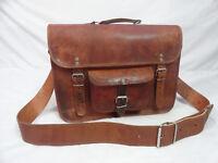 """Real Brown Leather Satchel Messenger 15"""" Laptop Briefcase Crossbody Shoulder Bag"""
