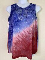 Catherines Womens Plus Size 0X Paisley Pattern Blouse Sleeveless