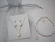 Lágrima Collar De Perlas Blanco Pulsera & Juego Pendientes del corazón Dama De Honor Novia