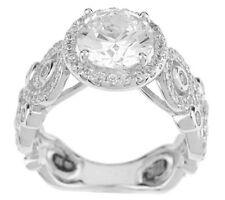 Hidalgo Diamonique Openwork Gallery Sterling Silver Solitaire Ring Size 5 QVC
