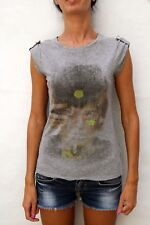 LIU. JO JEANS GREY STAR and moon astratto Capped Manica T Shirt Regno Unito (10) S LOOK!