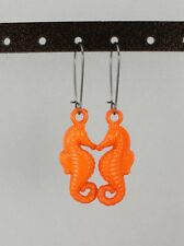 Seahorse earrings lightweight plastic kidney hook ear wire sea horse hippocampus