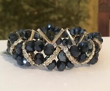 Beautiful Black Facet Glass Beads With Crystal Accents Stretch Bracelet #C4