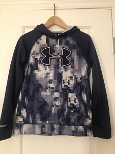 Under Armour Storm Blue Digital Camo Hoodie Boys Youth Large