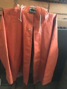 Dutch Harbor Gear Willapa Rain Jacket heavy orange lined. Size XL