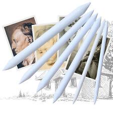 6pcs/set Blending Smudge Stump Stick Tortillon Sketch Art Drawing Pen Tool White