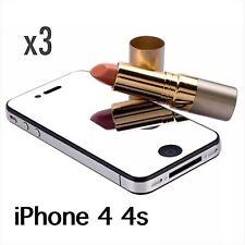 IPhone 4S 4 SPECCHIO SCREEN PROTECTOR & Panno di pulizia lente x 3