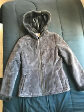 Women's Hooded Craft and Barrow Suede Leather Zip Up Jacket/Coat S Brown
