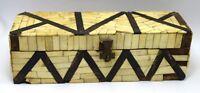 Vintage Beautiful Old Stationary Box - Trinket Box Camel Bone Fitted. i71-223 US