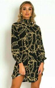 Ladies Women Victorian Chain Print Italian Style Long Sleeve Dress Tunic Top