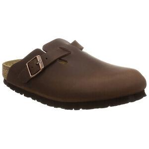 Birkenstock Boston BS Waxy Leather Casual Buckle Strap Clogs Unisex Sandals