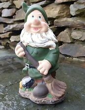 Ceramic Forest Gnome with broom, outdoor/Indoors, Garden Ornaments Hand Painted