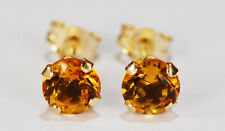 Earrings~14 Kt Yellow Gold~5Mm Beenjeweled Genuine Natural Mined Citrine