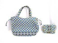 Vera Bradley Riviera Blue Handbag Purse & Wallet Set Satchel Geometric BP4